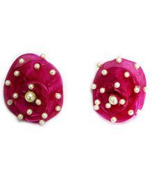 Little Pocket Store Handmade Big-Beaded Rose Tops - Pink
