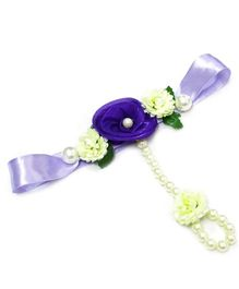 Little Pocket Store Handmade Floral Wrist Hathphool - Purple