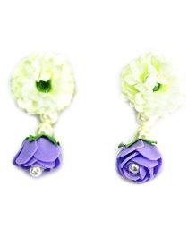 Little Pocket Store Handmade Floral Big Drop Earrings - Purple & Golden