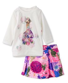 Peppermint Full Sleeves Party Top And Skirt Floral Print - Off White Pink