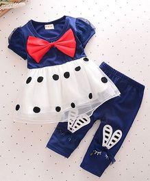 Pre Order : Superfie Polka Dot Dress With Leggings Set - Blue