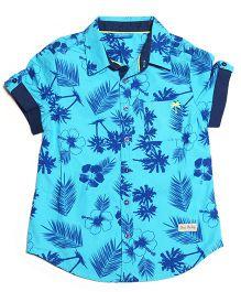 One Friday Casual Hawaiian Print Shirt - Light Blue