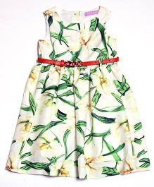 One Friday Printed Dress With Belt - Green