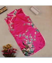 Tiny Closet Sleeveless Chinese Traditional Dress - Hot Pink