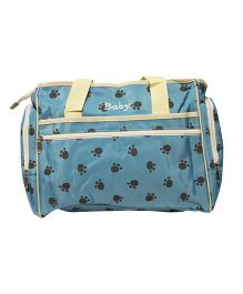 Kiwi Diaper Bag Paw Prints - Blue