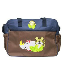 Kiwi Dual Color Diaper Bag With Tiger and Rhino Patch - Brown And Blue