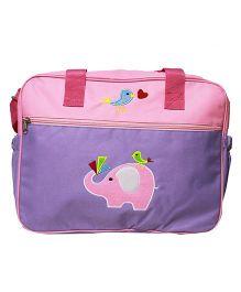 Kiwi Diaper Bag Bi-Colour Design With Elephant Patch - Pink & Purple
