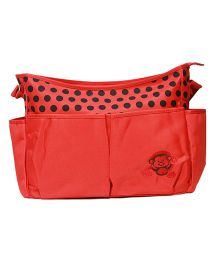 Kiwi Diaper Bag With Polka Dots & Monkey Embroidery - Red