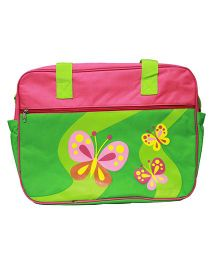 Kiwi Diaper Bag Butterfly Print - Green & Pink