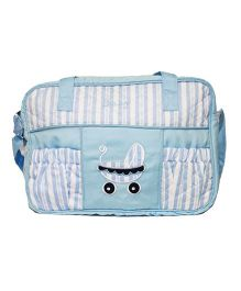 Kiwi Diaper Bag Cot Design With Stripes - Light Blue