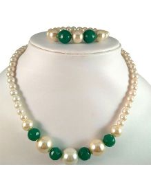 Tiny Closet Pearl Necklace And Bracelet Set - Green