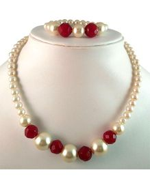 Tiny Closet Pearl Necklace And Bracelet Set - Maroon