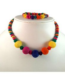 Tiny Closet Beads Necklace & Bracelet Set - Multicolour