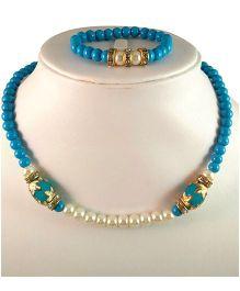 Tiny Closet Filigree Bead Necklace & Bracelet - Blue