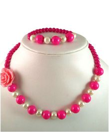 Tiny Closet Rose Necklace & Bracelet - Pink