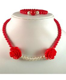 Tiny Closet Two Roses Necklace & Bracelet - Red