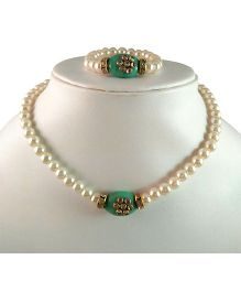 Tiny Closet Kundan Stone Necklace & Bracelet Set - Turquoise