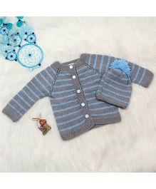 The Original Knit Sweater & Cap - Blue & Grey