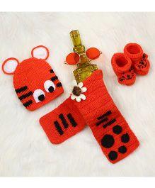 The Original Knit Cap Muffler & Booties Set - Orange
