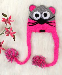 The Original Knit Cap - Hot Pink & Grey