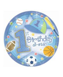 Planet Jashn 1st Birthday All Star Paper Plates - Pack of 18