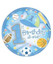 Planet Jashn 1st Birthday All Star Plates - Pack of 18