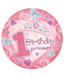 Planet Jashn 1st Birthday Princess Paper Plates - Pack of 18