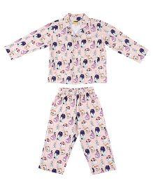 Hugsntugs Milk Dairy Printed Night Suit - Peach