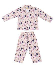 Hugsntugs Milk Dairy Printed Night Suit - Peach