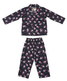 Hugsntugs Popcorn Print Night Suit - Black