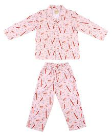 Hugsntugs Pencil Print Night Suit - Pink