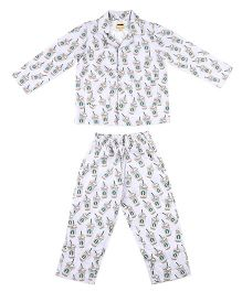 Hugsntugs Beverage Print Night Suit - Light Purple