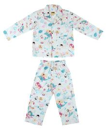 Hugsntugs Fishing Anchor & Mermaid Print Night Suit - White & Multicolour