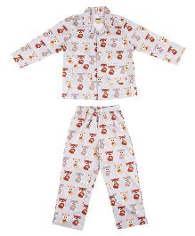 Hugsntugs Fox Print Night Suit - Grey & Brown