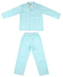 Hugsntugs Gingham Print Night Suit - Light Blue