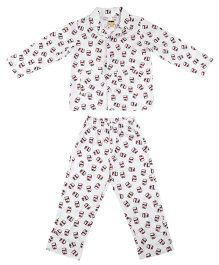 Hugsntugs Chocolate Spread Print Night Suit - White & Brown