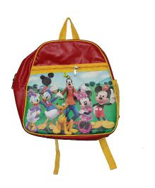 Planet Jashn Mickey Mouse Club House School Bag Red Yellow - 15 Inches