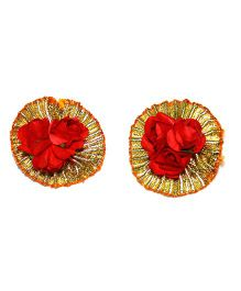 Little Pockets Store Gota & Flower Earing - Red