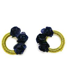 Little Pockets Store Floral Round Earing - Blue