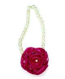 Little Pockets Store Necklace With Big Floral Bunch - Pink