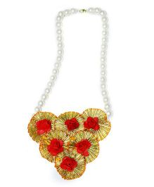 Little Pockets Store Trio Gota Long Necklace - Golden & Red