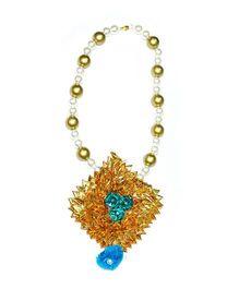 Little Pockets Store Pretty Floral Long Necklace - Golden & Blue