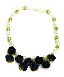 Little Pockets Store Pretty Floral Necklace - Navy Blue