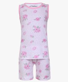 Earth Conscious Sleeveless Organic Cotton Night Suit Floral Print - Pink
