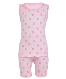 Earth Conscious Sleeveless Organic Cotton Night Suit Strawberry Print - Pink