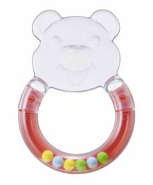 Rikang Bear Shaped Rattle Teether - Red