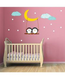 Chipakk Star Moon & Cute Penguins HD Kids Room Wall Decal - Blue Yellow White