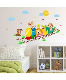 Chipakk Animal Fun In Train HD Quality Kids Room Wall Decal - Multicolor