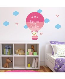 Chipakk You Are My Sunshine Hot Air Balloon HD Kids Room Wall Decal - Pink & Blue