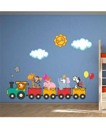 Chipakk Animals Train Ride HD Quality Kids Room Wall Decal - Multicolor